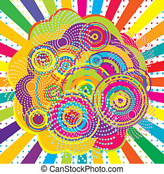 Abstract background with colored sunburst and circles