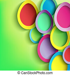 Abstract background with colorful Easter egg. Easter card with 3d Easter egg. Beautiful stylish Easter background. Vector illustration