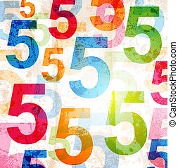Abstract background with colorful rainbow numbers for design