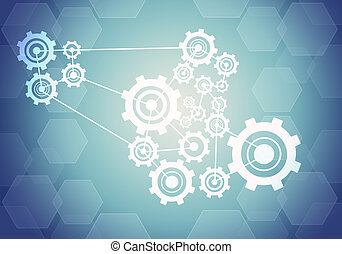Abstract background with connected cogs