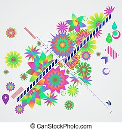 Abstract  background with different floral design elements.