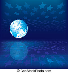 abstract background with earth and stars on blue background