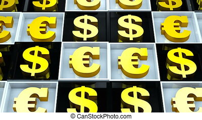 Abstract background with euro sign and dollar on black and white cubes