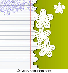 Abstract background with exercise books and white flowers