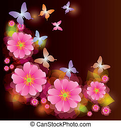 Abstract background with exotic flower and butterfly