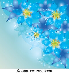 Abstract background with exotic flowers blue-violet