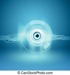 Abstract background with eye and circuit
