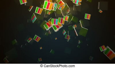 Abstract background with falling blocks