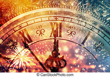 Abstract background with fireworks and clock close to...