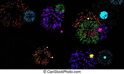 Abstract background with fireworks. Cg animation. Seamless...