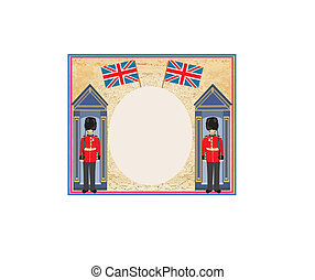 abstract background with flag england and Beefeater soldier