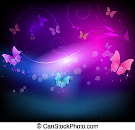 Abstract background with florals and butterflies in dark colors