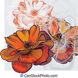 Abstract background with flowering roses, hand-drawing....
