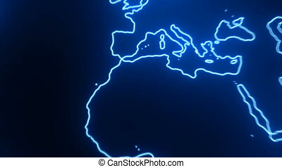 Abstract background with futuristic world map. 3d rendering
