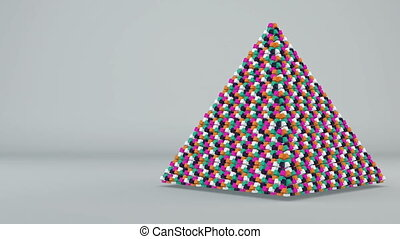 Abstract background with futuristic colorful pyramide....