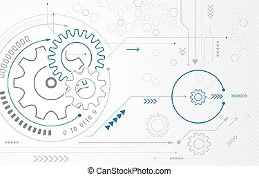 Abstract background with gear wheels. Vector technology concept with arrows and circuit board.