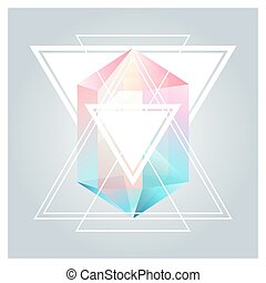 Abstract background with geometric crystals, shapes and lines