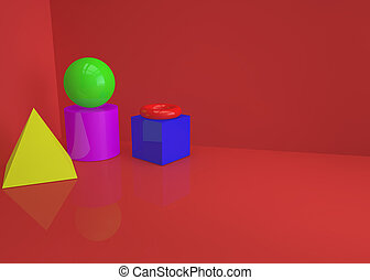 Abstract background with geometric shapes on red background. 3D illustration