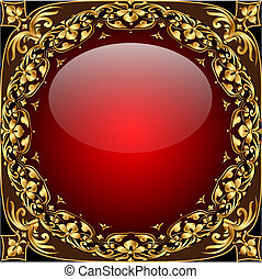 Abstract background with glass ball and gold(en) pattern