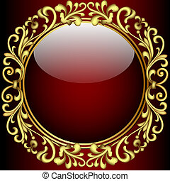 background with glass ball and gold(en) pattern