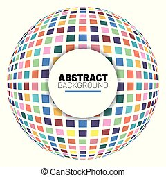 Abstract background with globes mosaic 3d vector illustration