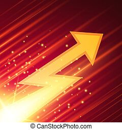 Abstract background with glowing arrow