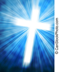 Abstract background with glowing cross and light rays
