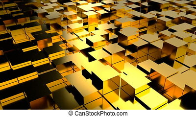 Abstract background with gold blocks