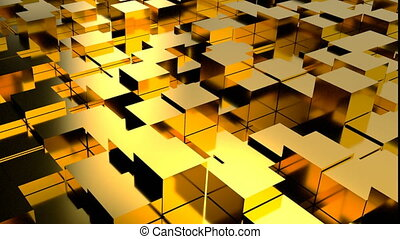 Abstract background with gold blocks. Seamless loop