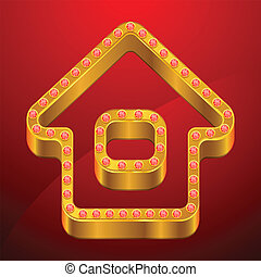 Abstract background with gold house and jewels.