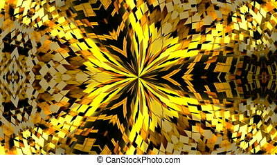 Abstract background with gold kaleidoscope. Seamless loop