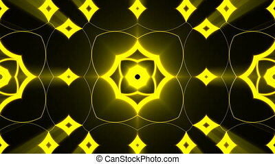 Abstract background with gold light kaleidoscope. Seamless...