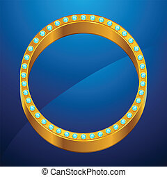 Abstract background with gold ring and jewels.