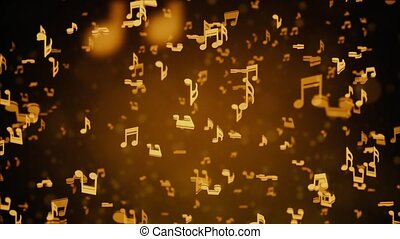 Abstract Background with Golden music notes looped Background. For event, concert, title, festival, presentation, music videos, art, show, party, Award, fashion. Music festival, night club stage.