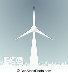 Abstract background with grass and windmill