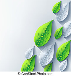 Abstract background with gray and green 3d leaf