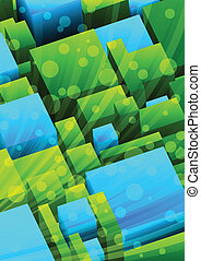 Abstract background with green and blue cubes. Vector illustration