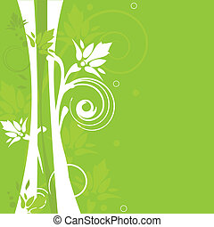 Abstract background with green flowers