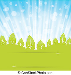 abstract background with green leav