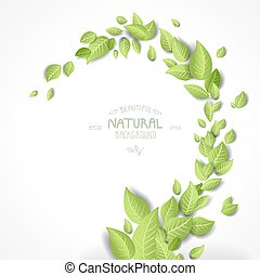 Abstract background with green leaves