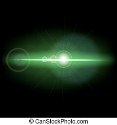 Abstract background with green lens flare