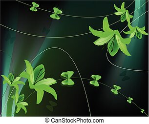 Abstract background with green lilies and butterflies