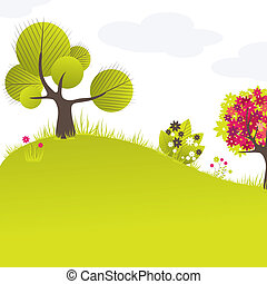 Abstract background with green tree