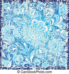 abstract background with grunge floral ornament blue