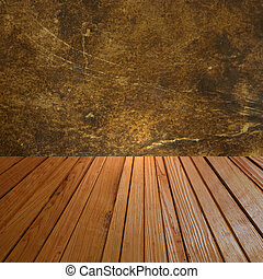 Abstract background with grunge wall and wooden floor.