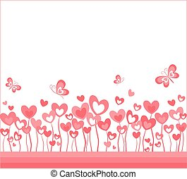 Abstract background with hearts and butterfly
