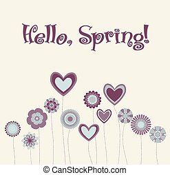 abstract background with hearts and flowers. Hello, spring. vector