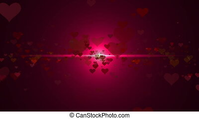Abstract background with hearts. Seamless loop