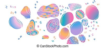 Abstract background with holographic multi-colored spots on white background. Vector illustration.