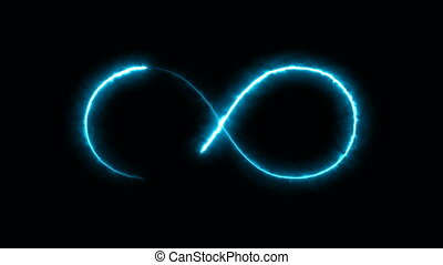 Abstract background with infinity sign. Digital background. Seamless loop